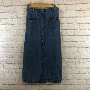 Vintage Jean Maxi Button Long Skirt Embroidered